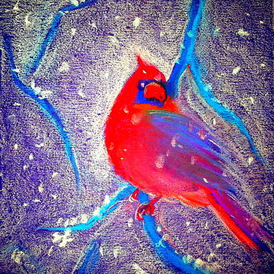 Cardinal In Snow Poster by Sue Jacobi