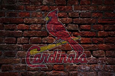 Cardinals Baseball Graffiti On Brick  Poster by Movie Poster Prints