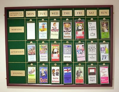 Care Home Activities Timetable Poster by John Cole