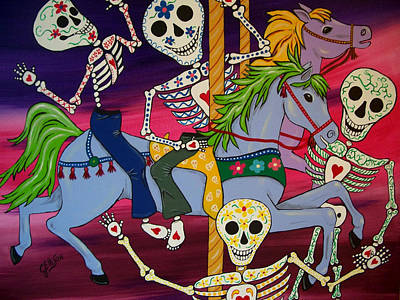Carousel Horses And Skeletons Poster by Julie Ellison