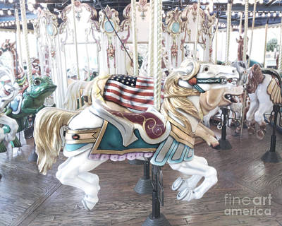 Carousel Merry Go Round Horses - Dreamy Baby Blue Carousel Horses Carnival Ride And American Flag Poster by Kathy Fornal