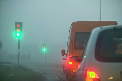 Cars Driving In The Fog Poster by Ashley Cooper