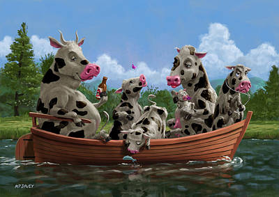 Cartoon Cow Family On Boating Holiday Poster by Martin Davey