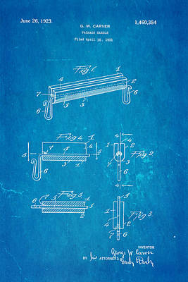 Carver Package Handle Patent Art 1923 Blueprint Poster by Ian Monk
