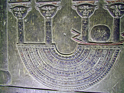 Carving Like Cleopatra's Necklace In A Crypt In Temple Of Hathor Near Dendera-egypt Poster by Ruth Hager