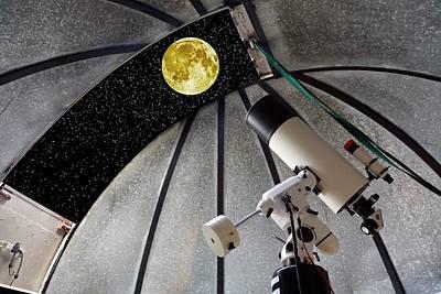 Cassegrain Telescope And Moon Poster by Victor De Schwanberg