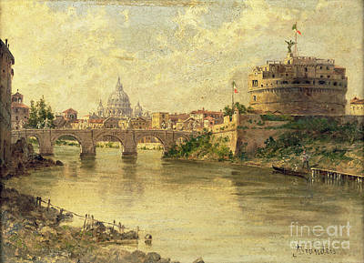 Castel Sant Angelo And St. Peters From The Tiber Poster by Antonietta Brandeis