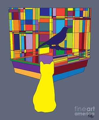 Cat Bird Pop Poster by Megan Dirsa-DuBois