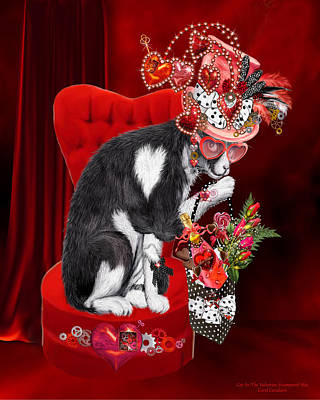 Cat In The Valentine Steam Punk Hat Poster by Carol Cavalaris