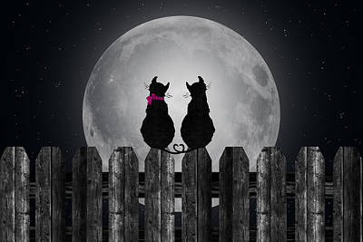 Cats In The Moonlight Poster by Maria Dryfhout