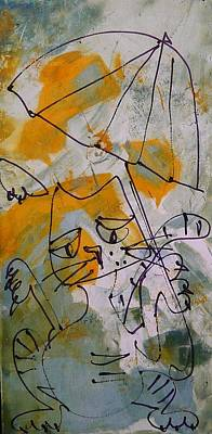 Cats With Umbrella 3 Poster by Sonja  Zeltner