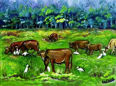 Cattle Grazing With Egrets Poster by Carol Allen Anfinsen