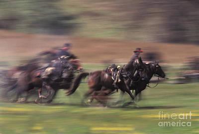 Cavalry Battle At A Civil War Poster by Ron Sanford