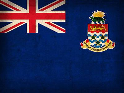 Cayman Islands Flag Vintage Distressed Finish Poster by Design Turnpike