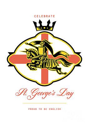 Celebrate St. George Day Proud To Be English Retro Poster Poster by Aloysius Patrimonio