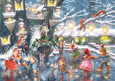 Celebration On Ice Poster by Zorina Baldescu