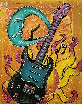 Celestial Guitar Poster by Laura Barbosa