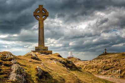 Celtic Cross At Llanddwyn Island Poster by Adrian Evans
