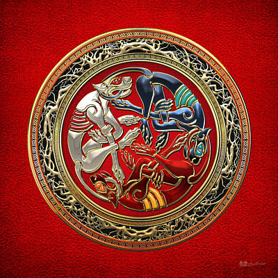 Celtic Treasures - Three Dogs On Gold And Red Leather Poster by Serge Averbukh