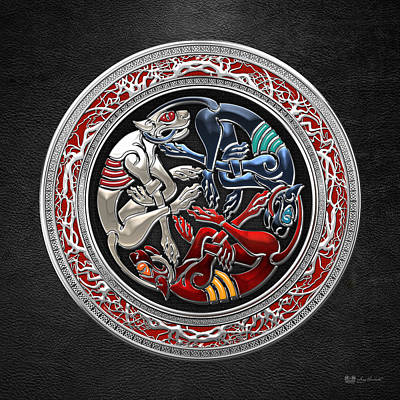 Celtic Treasures - Three Dogs On Silver And Black Leather Poster by Serge Averbukh