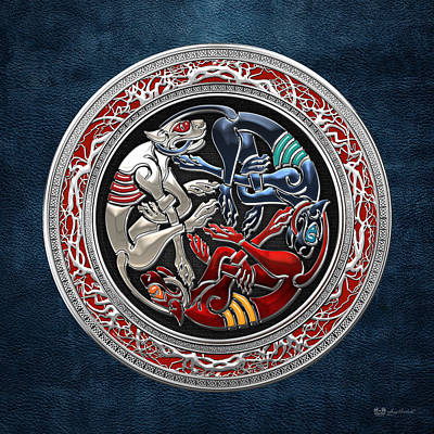 Celtic Treasures - Three Dogs On Silver And Blue Leather Poster by Serge Averbukh