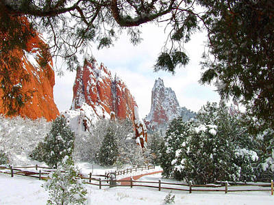 Central Garden Of The Gods After A Fresh Snowfall Poster by John Hoffman