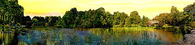 Central Park Panorama At Sunset Poster by Bob and Nadine Johnston