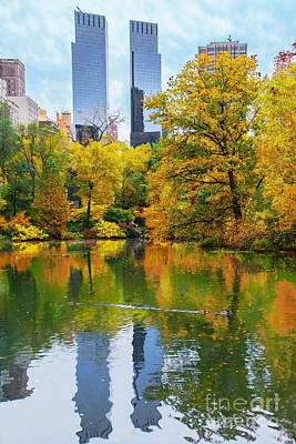 Central Park Pond Autumn Reflections Poster by Regina Geoghan