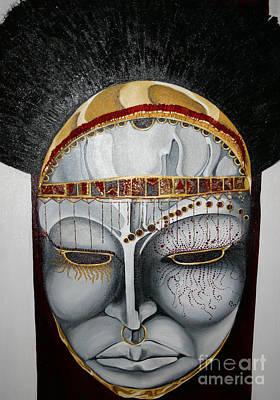Ceremonial War Mask Poster by Rhonda Falls