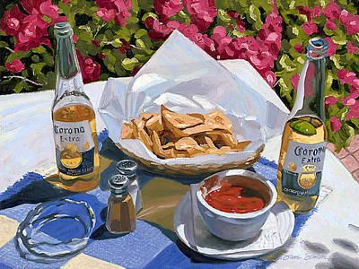 Cervezas Y Nachos - Coronas With Nachos Poster by Steve Simon