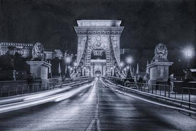 Chain Bridge Night Traffic Bwii Poster by Joan Carroll