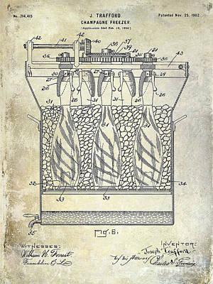 Champagne Bottle Freezer Patent 1902 Blue Poster by Jon Neidert