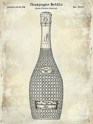 Champagne Bottle Patent Drawing Poster by Jon Neidert