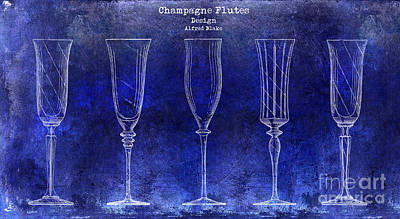 Champagne Flutes Design Patent Drawing Blue Poster by Jon Neidert