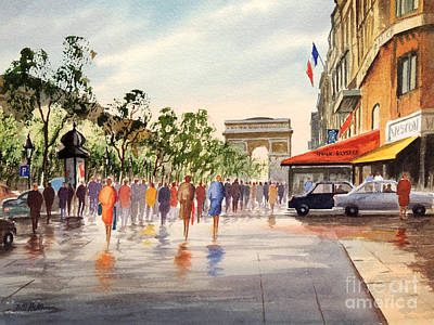 Champs Elysees And Arc De Triomphe Poster by Bill Holkham