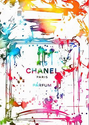Scented Poster featuring the painting Chanel Number Five Paint Splatter by Dan Sproul