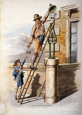 Changing Street Lamp Burner, 1805 Poster by British Library