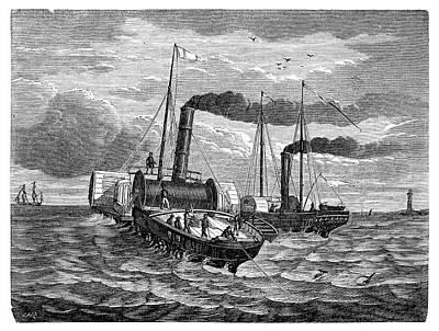 Channel Telegraph Cable Laying Poster by Science Photo Library