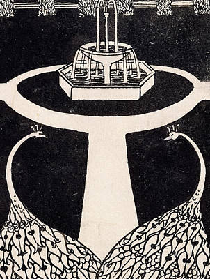 Chapter Heading Depicting Two Peacocks In A Garden With A Fountain Poster by Aubrey Beardsley