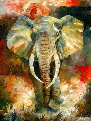Bush Poster featuring the painting Charging African Elephant by Christiaan Bekker