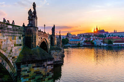 Charles Bridge And St. Vitus Cathedral In Prague Poster by Jim Hughes