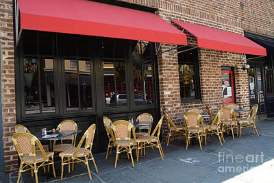 Charleston French Restaurant Outdoor Cafe - Rue De Jean - Charleston French Cafe Bistro  Poster by Kathy Fornal