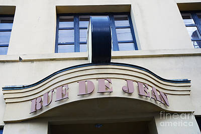 Charleston French Restaurant - Rue De Jean French Cafe Bistro Sign Architecture Poster by Kathy Fornal