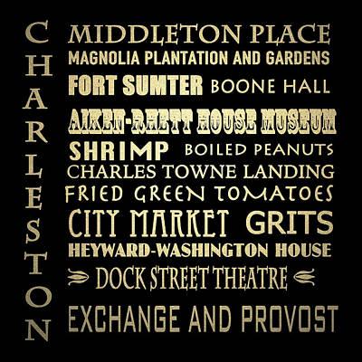 Charleston Sc Famous Landmarks Poster by Patricia Lintner