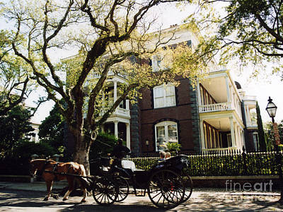 Charleston Victorian Homes And Carriage Ride  Poster by Kathy Fornal