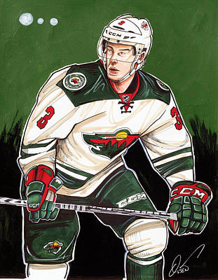 Charlie Coyle Of The Minnesota Wild Poster by Dave Olsen
