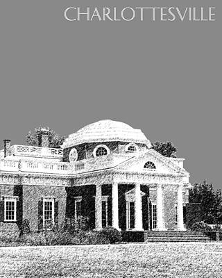 Charlottesville Skyline Monticello - Pewter Poster by DB Artist