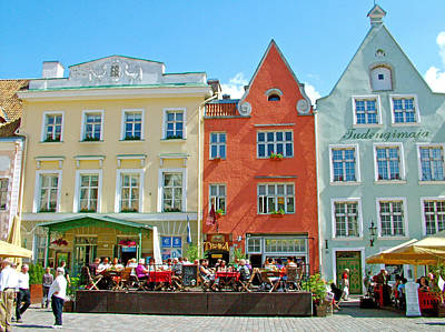 Charming Town Square In Old Town Tallinn-estonia Poster by Ruth Hager