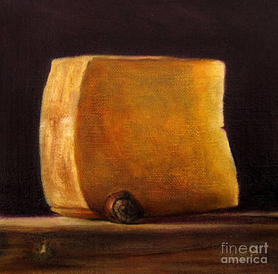 Lebensmittel Poster featuring the painting Cheese With Hazelnut by Ulrike Miesen-Schuermann
