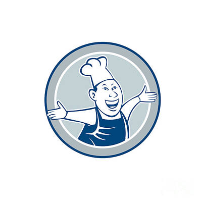 Chef Cook Happy Arms Out Circle Cartoon Poster by Aloysius Patrimonio